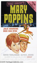 """Hollywood Memorabilia:Autographs and Signed Items, Julie Andrews Signed Poster. Disney's pioneering mixture of live action and animation in """"Mary Poppins"""" still holds kids spe..."""
