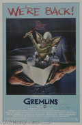 "Hollywood Memorabilia:Autographs and Signed Items, Zach Galligan Signed ""Gremlins"" Poster. An oddball '80s movie fromproducer Steven Spielberg, writer Chris Columbus, and dir..."