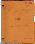 """Hollywood Memorabilia:Miscellaneous, """"All Through the Night"""" Signed Script. Humphrey Bogart, Conrad Veidt, and Peter Lorre starred in this 1942 comedy about a Bi..."""