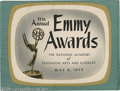 Hollywood Memorabilia:Miscellaneous, Emmy Awards Program (1959). A program for the 11th annual EmmyAwards, held May 6, 1959. The awards that year were concurren...