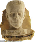 "Memorabilia:Miscellaneous, ""Frankenstein"" Foam Bust. This one-of-a-kind, highly detailed foamsculpture was used as a negative mold to create a plastic..."