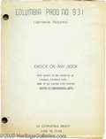 """Hollywood Memorabilia:Miscellaneous, """"Knock On Any Door"""" Script. Here is a vintage copy of the screenplay for the 1949 film noir """"Knock On Any Door,"""" which starr..."""