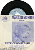 "Memorabilia:Miscellaneous, Marilyn Monroe 45 Record. A promotional copy of the single ""Riverof No Return,"" with ""One Silver Dollar"" on the flipside. I..."