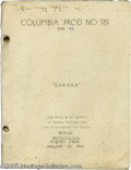 "Memorabilia:Miscellaneous, ""Sahara"" Script. Bit-player Rose Mary Lopez's copy of the finalscript for the 1943 war drama ""Sahara,"" which starred Humphr..."