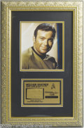 "Hollywood Memorabilia:Props, ""Star Trek"" Framed Fabric Swatch and Photograph. Fans of theoriginal ""Star Trek"" television series will want to consider th..."