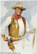 "Hollywood Memorabilia:Props, Earl MacPherson ""John Wayne"" Painting. A painting of the Duke in inhis role of Rooster Cogburn from ""True Grit"" -- the only..."