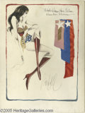 "Hollywood Memorabilia:Props, Original ""Wonder Woman"" Costumes Sketch. The original, 15"" x 20""costume sketch for the 1975-79 ""Wonder Woman"" TV series, wh..."