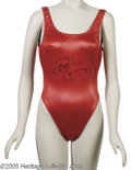 "Hollywood Memorabilia:Costumes, Pamela Anderson Signed Bathing Suits. At it's height, the TV series ""Baywatch"" was syndicated in 148 countries. The series h..."