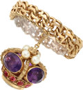 Estate Jewelry:Bracelets, Amethyst, Pink Tourmaline, Cultured Pearl Gold Bracelet . ...