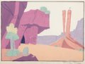 Animation Art:Painted cel background, To Hare is Human Painted Production Background Signed byMaurice Noble (Warner Brothers, 1955)....