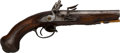 Handguns:Muzzle loading, French Double Barrel Flintlock Pistol....