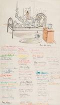 Animation Art:Production Drawing, The Art of Termite Terrace Signed Get-Well Card Art (Warner Brothers, 1950's)....
