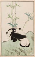 Asian:Chinese, After Qi Baishi (1864-1957) and Chinese School (20th Century). Insects and Two Pandas (two scrolls). Ink and color on pa... (Total: 2 Items)