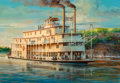 Paintings, John Conrad Berkey (American, 1932-2008). Riverboat, Stamp Book illustration. Acrylic and casein on board. 10-1/4 x 15 i...