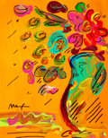 Works on Paper, Peter Max (American, b. 1937). Flowers. Acrylic and marker on paper. 9-1/2 x 7-1/2 inches (24.1 x 19.1 cm) (sight). Sign...