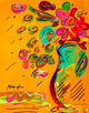 Peter Max (American, b. 1937) Flowers Acrylic and marker on paper 9-1/2 x 7-1/2 inches (24.1 x 19.1 cm) (sight) Sign