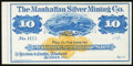 Obsoletes By State:Nevada, Austin, NV- Manhattan Silver Mining Co. $10 187_ Remainder About Uncirculated.. ...