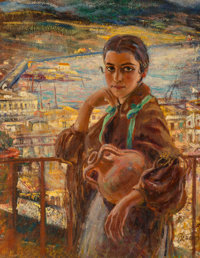 Bruno Beran (Czech, 1888-1979) Girl on Balcony Oil on canvas 36 x 28 inches (91.4 x 71.1 cm) S