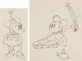 Animation Art:Production Drawing, Building a Building Mickey Mouse and Minnie Mouse Animation Drawings Group of 2 (Walt Disney, 1933). ... (Total: 2 Original Art)
