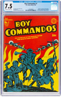 Boy Commandos #1 (DC, 1942) CGC VF- 7.5 Off-white to white pages