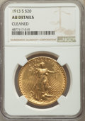 Saint-Gaudens Double Eagles, 1913-S $20 -- Cleaned -- NGC Details. AU. NGC Census: (3/1147). PCGS Population: (12/1935). CDN: $1,500 Whsle. Bid for prob...