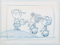 Animation Art:Production Drawing, Peanuts - The Charlie Brown and Snoopy Show Charlie Brown, Frieda, and Lucy Layout Drawing (Bill Melendez, 1983). ...