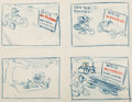 Animation Art:Concept Art, Donald Duck Gag Sequence Drawing Original Art (Walt Disney, c.1940s)....