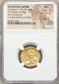 Ancients:Byzantine, Ancients: Constans II Pogonatus (AD 641-668). AV solidus (19mm,4.38 gm, 7h). NGC MS 5/5 - 4/5, clipped....