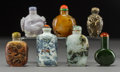 Asian:Chinese, Seven Chinese Mixed Media Snuff Bottles. Marks: (various). 2-7/8inches (7.3 cm) (tallest). ... (Total: 7 Items...