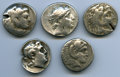 Ancients:Ancient Lots  , Ancients: ANCIENT LOTS. Greek. Macedonian and Seleucid Kingdoms.Ca. 336-187 BC. Lot of five (5) AR tetradrachms. Fine, test cuts,bent.... (Total: 5 coins)
