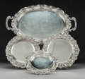 Silver & Vertu:Hollowware, Four Portuguese Silver Serving Trays, 20th century. Marks: (eagle-833), (various). 16 x 26 inches (40.6 x 66.0 cm) (largest)... (Total: 4 Items)