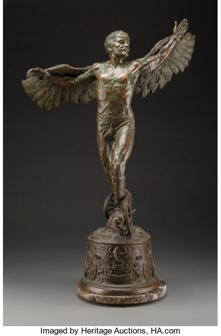 Stanley Wanlass (American, b. 1941) Spirit of the Automobile, 1986 Bronze with green patina 27 inches (68.6 cm) high ...