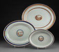 Asian:China Trade, Three Chinese Export Porcelain Serving Platters with LandscapeScenery Medallions, 18th-19th century. 13-3/8 x 15-3/4 inches...(Total: 3 Items)