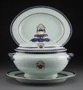 Asian:China Trade, A Chinese Export Armorial Porcelain Tureen and Two Platters Bearingthe Arms of the MacArthur Family, circa 1790. 10-1/4 x 1... (Total:3 Items)