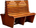Furniture , A Double-Sided Wooden Park Bench, 20th century. 37 x 43-1/2 x 36-1/2 inches (94.0 x 110.5 x 92.7 cm). ...
