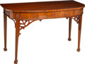 Furniture : English, An English George III-Style Mahogany Demilune Console, 19th century. 34-3/4 x 58-1/4 x 26-3/8 inches (88.3 x 148.0 x 67.0 cm...