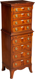 Furniture , A French Transitional-Style Mahogany Inlaid Semanier Chest, early 20th century. 48 x 16-1/2 x 13-1/2 inches (121.9 x 41.9 x ...