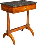 Furniture , A Continental Burl Walnut Side Table with Marble Top, 19th century. 31 x 25 x 15-3/8 inches (78.7 x 63.5 x 39.0 cm). ... (Total: 2 Items)