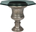 Furniture , A Large Cast Iron Urn-Form Table with Glass Top. 30 x 32 x 32 inches (76.2 x 81.3 x 81.3 cm) (overall). ... (Total: 2 Items)