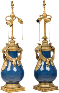 A Pair of French Louis XV-Style Powder Blue Porcelain and Gilt Bronze Lamps, first half 20th century 34-1/2 inches