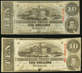 Confederate Notes:1863 Issues, T59 $10 1863 PF-19 Cr. 442 VF;. T59 $10 1863 PF-25 Cr. 442B Fine,CC.. ... (Total: 2 notes)