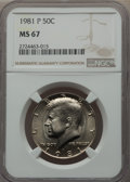 Kennedy Half Dollars, 1981-P 50C MS67 NGC. NGC Census: (18/1). PCGS Population: (25/0). CDN: $330 Whsle. Bid for problem-free NGC/PCGS MS67. Mint...
