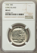 1936 50C Long Island MS63 NGC. NGC Census: (643/3687). PCGS Population: (1331/4567). CDN: $80 Whsle. Bid for problem-fre...