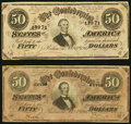 Confederate Notes:1864 Issues, T66 $50 1864 PF-1 Cr. 495 VF;. T66 $50 1864 PF-2 Cr. 496 Fine-VF.. ... (Total: 2 notes)