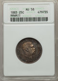 Coins of Hawaii , 1883 25C Hawaii Quarter AU58 ANACS. NGC Census: (127/991). PCGSPopulation: (165/1380). CDN: $200 Whsle. Bid for problem-fr...