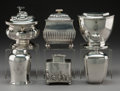 Silver & Vertu:Hollowware, Five Various American, Dutch, and English Silver Tea Caddies with Associated Silver-Plated Example, 19th century and later. ... (Total: 6 Items)