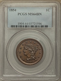 1854 1C MS64 Brown PCGS. PCGS Population: (159/62). NGC Census: (116/109). MS64. Mintage 4,236,156. ...(PCGS# 1904)
