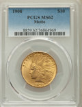 Indian Eagles: , 1908 $10 Motto MS62 PCGS. PCGS Population: (1832/1377). NGC Census: (1571/765). CDN: $775 Whsle. Bid for problem-free NGC/P...