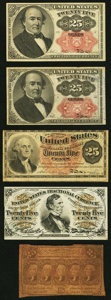 Fractional Currency:First Issue, Fr. 1281 25¢ First Issue VG;. Fr. 1295 25¢ Third Issue VF-XF;. Fr. 1301 25¢ Fourth Issue VG, left edge tear;. Fr. ... (Total: 5 notes)