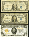 Small Size:Gold Certificates, Fr. 2402 $20 1928 Gold Certificate. Fine-VF;. Fr. 1619 $1 1957 Silver Certificates. Two Examples. VG-Fine or Better.. ... (Total: 3 notes)